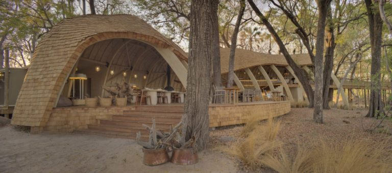 The uniquely designed Sandibe Okavango Safari camp is inspired by Africa's scaly pangolin