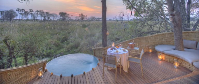 Private rim flow plunge pools with scenic views are an added luxury at Sandibe