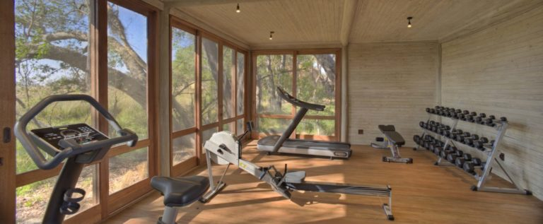 A small equipped gym on site at Sandibe is available for exercise lovers