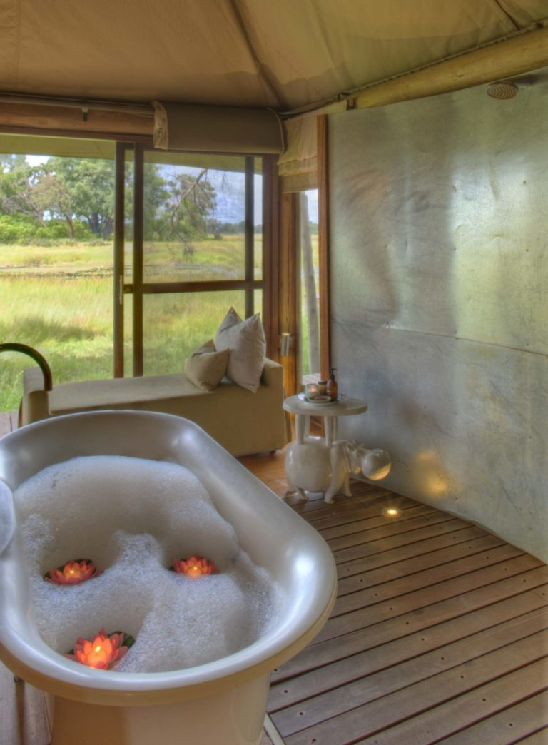A deep luxurious bath is the perfect way to relax after a day in the wilderness at Xaranna camp