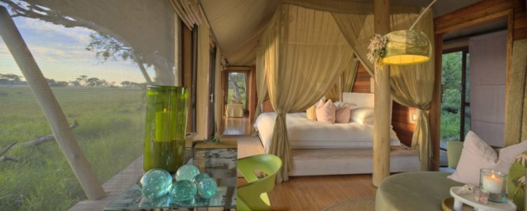 The tented rooms at Xaranna enjoy fantastic views over the Delta
