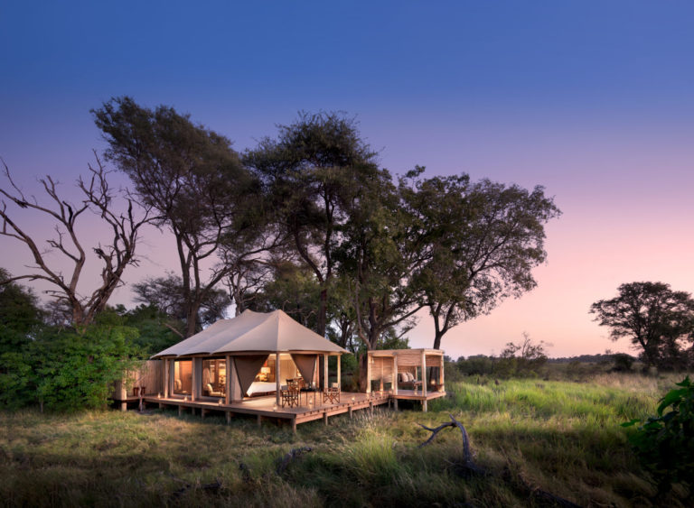 Nine elegant tents at Nxabega boast individual viewing decks and daytime salas