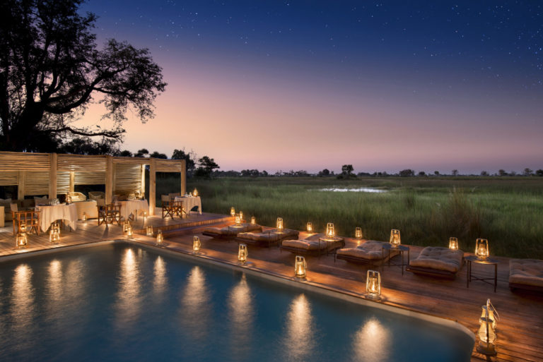 Nxabega 's swimming pool has loungers with incredible views over the seasonally flooded grasslands