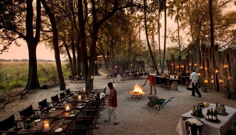 Dinner preparations at Sandibe Safari camp boma