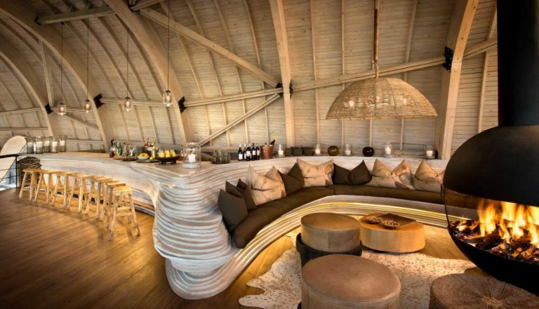 Sandibe's copper-toned guest area overlooks the magnificent Delta