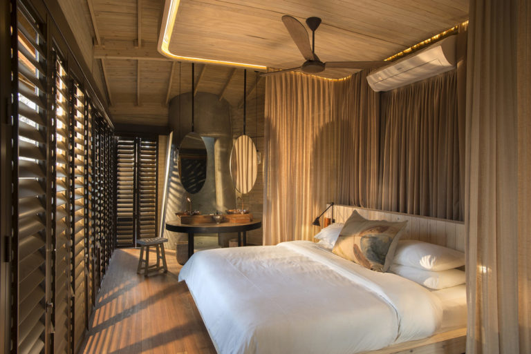 The air conditioned suites at Sandibe are beautifully appointed