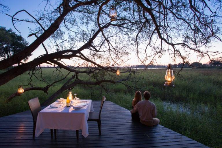 Romantic dinner scene at Abu Camp