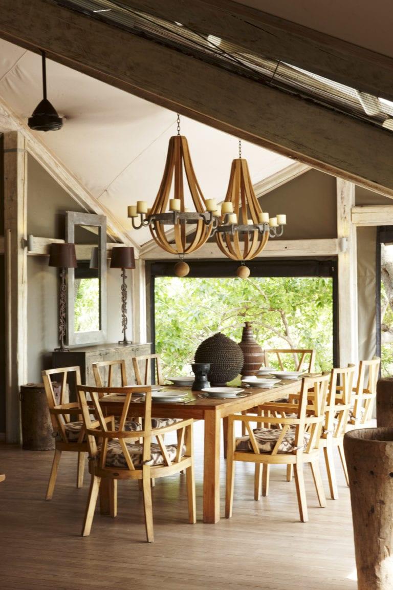 Tasteful dining room decor at Abu Camp