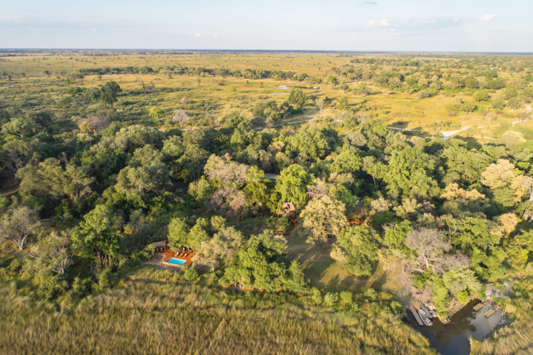 Aerial view of Camp Moremi in Moremi Game Reserve