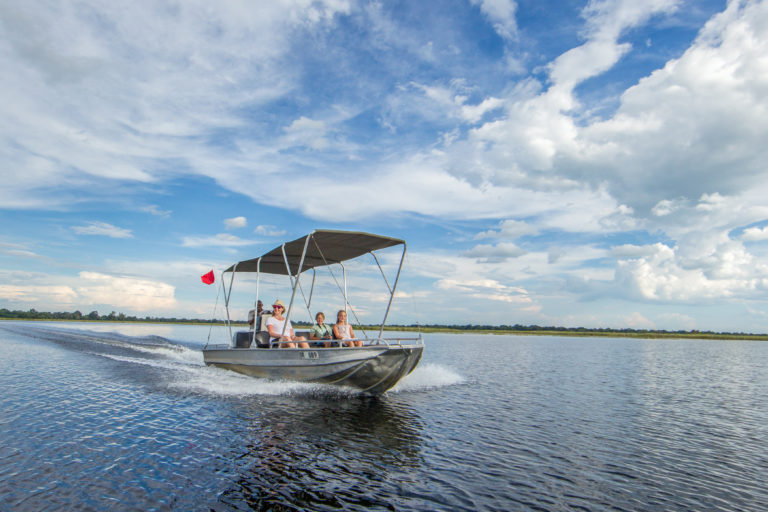 Boating is a popular water activity at Camp Moremi