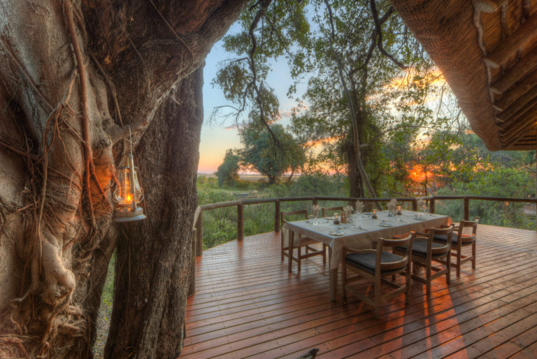 The beautiful elevated dining area at Camp Moremi
