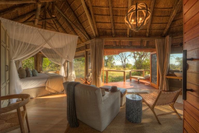 The natural decor at Camp Moremi flows seamlessly in with the surrounding environment