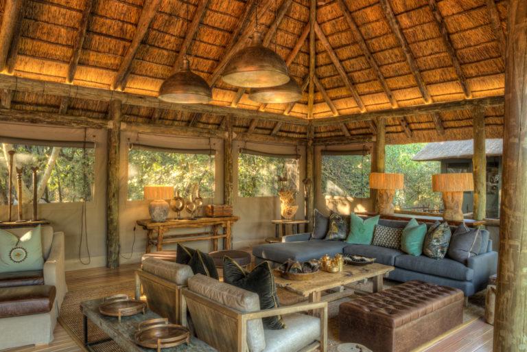 Camp Moremi's ample lounge area