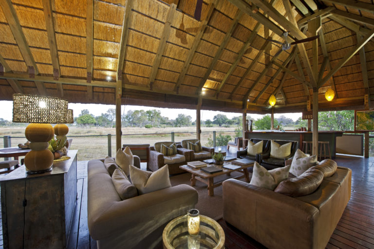 The lounge at Chitabe has a vantage point over the lediba waterhole