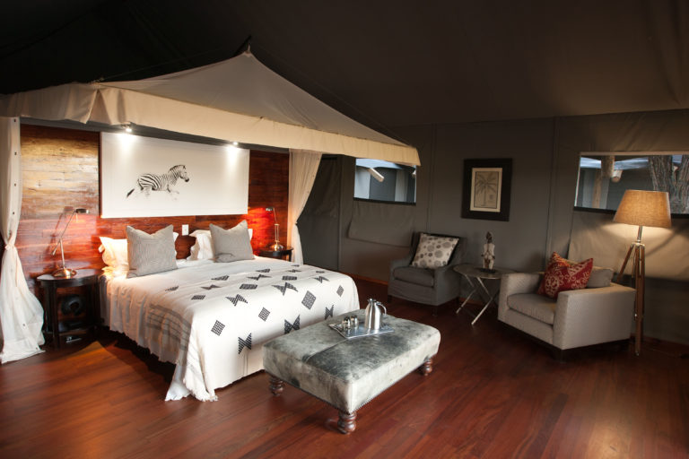Interior layout of Meru style guest tent at Chitabe