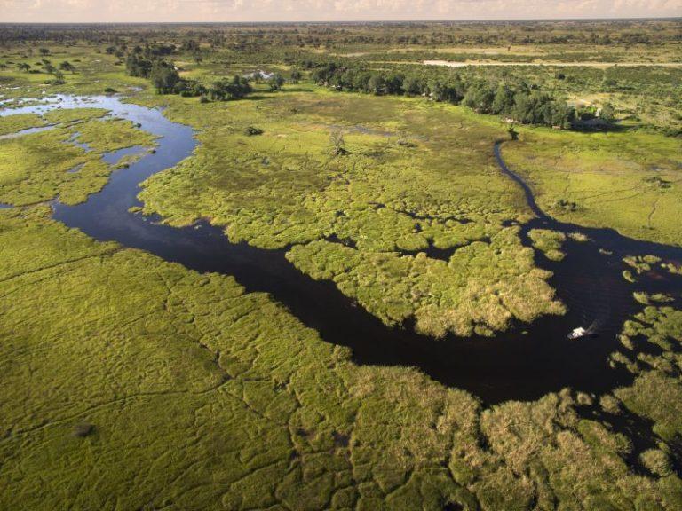 Aerial view of Duba Camp in Okavango Delta