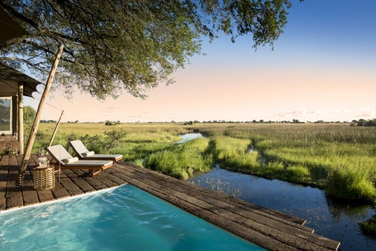 Private pool and deck with view over Okavango Delta at Duba