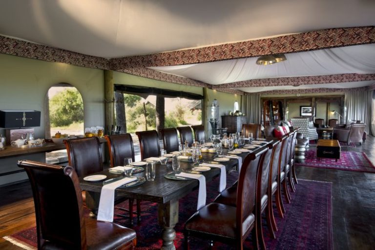 Duba's raised dining room set up for fine dining experiences