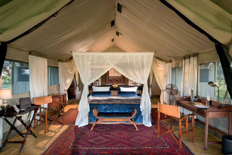 Beautifully appointed guest tent at Duba Explorers camp