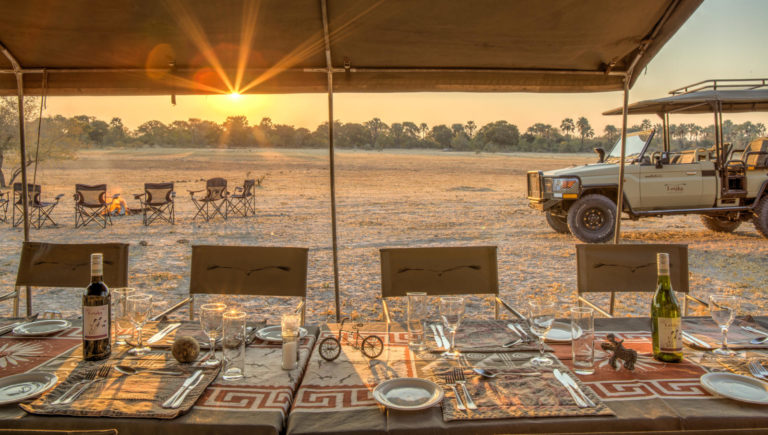 Table set for dinner post game drive with Letaka