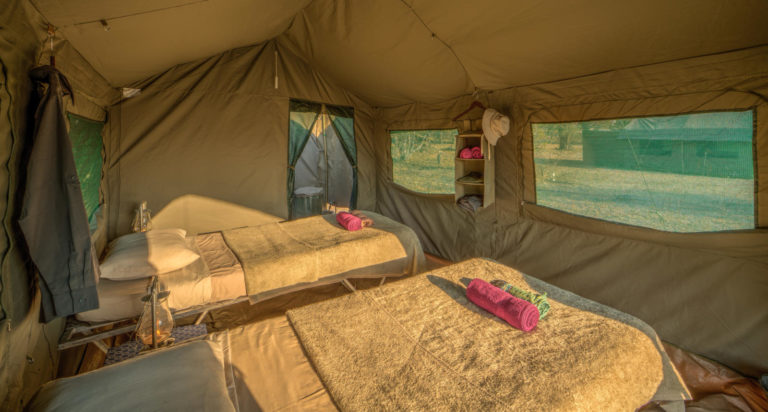 Twin bed tent set up in on a fully serviced Letaka Safari