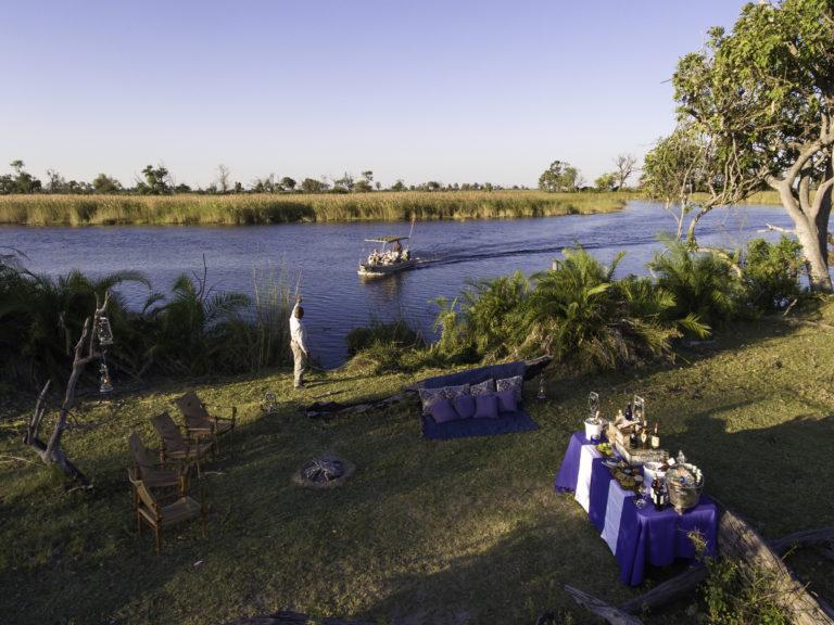 Sundowner surprise location at Little Vumbura