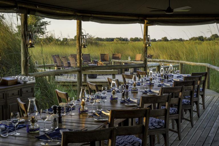 The dining room setting at Little Vumbura