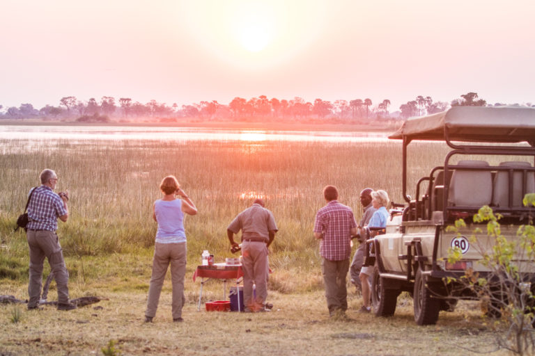 Sundowner stop on Moremi Crossing afternoon game drive