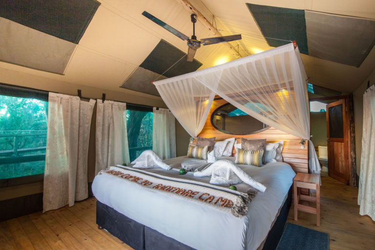Stylish interior of luxury guest tents at Rra Dinare