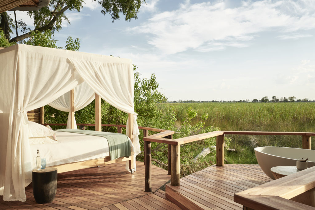 Each tent at Baines Camp features a star bed with beautiful views of the Delta