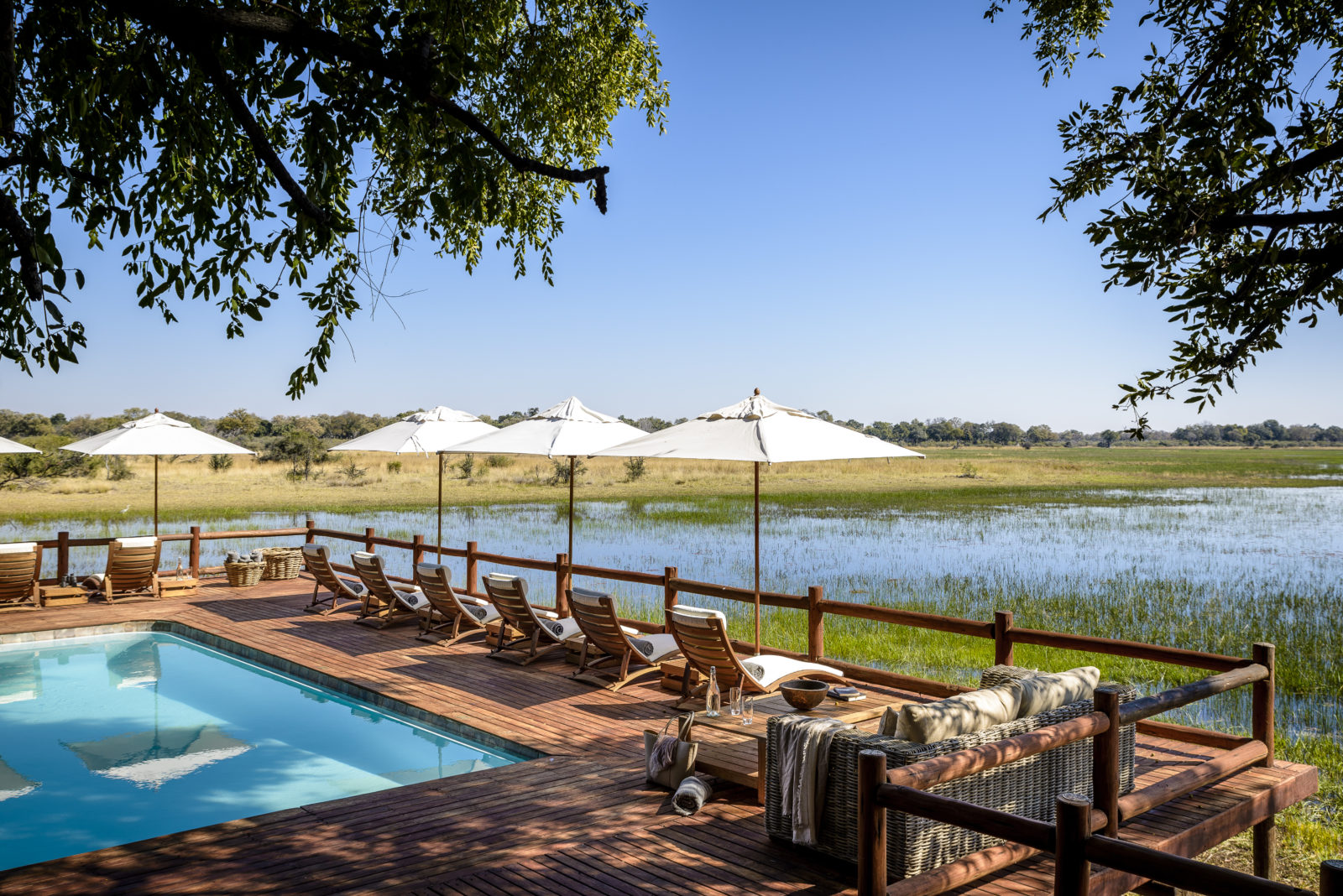 Beautifully located wooden pool deck overlooking the Delta at Sanctuary Chief's Cam