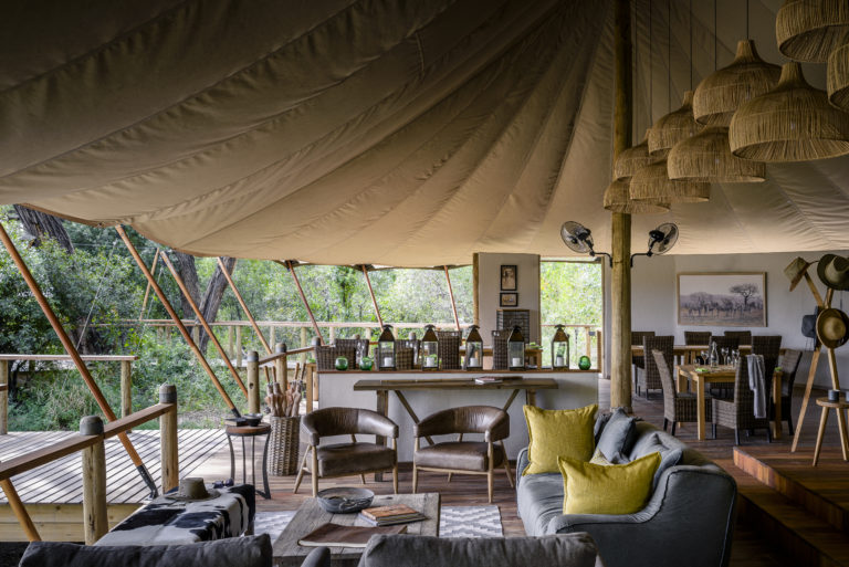 Classic Safari inspired decor in the lounge area at Stanley's Camp