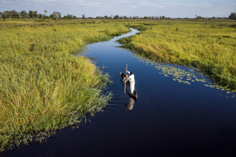 A mokoro from Stanley's Camp navigating through the Delta's water channels