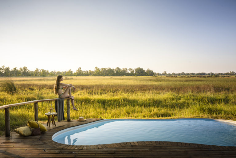 The open pool deck at the edge of the delta at Stanley's Camp