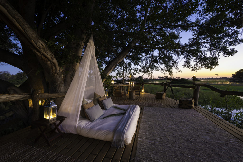 The Romantic sleep out deck at Tubu is one of the best star beds in Botswana