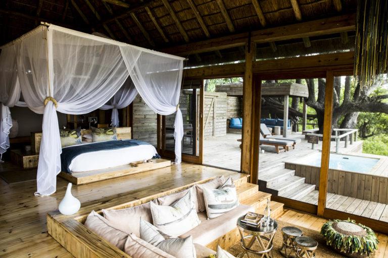 Guest room interior at Vumbura Plains Camp