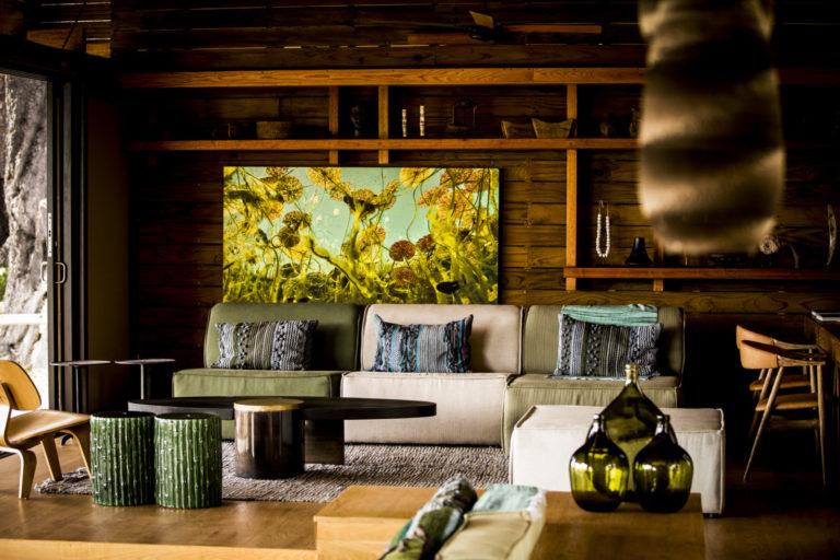 Lounge area interior at Vumbura Plains Camp