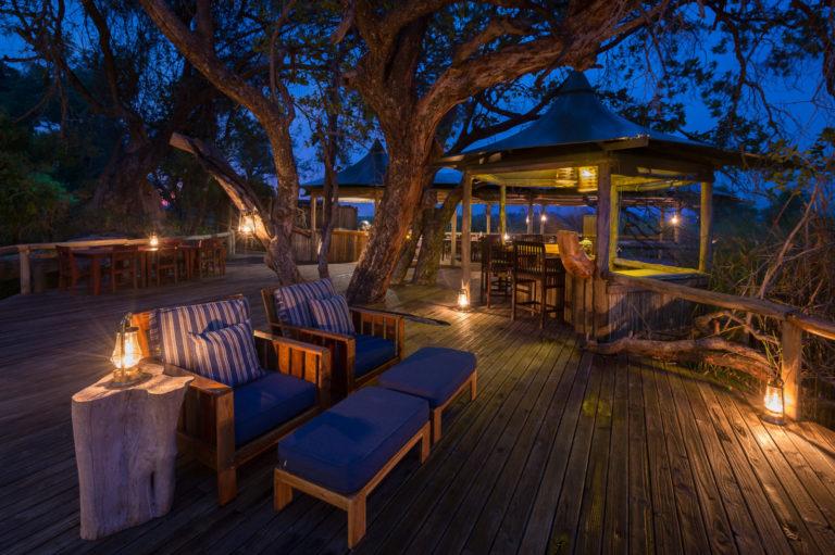 Evening on the main deck at Little Vumbura