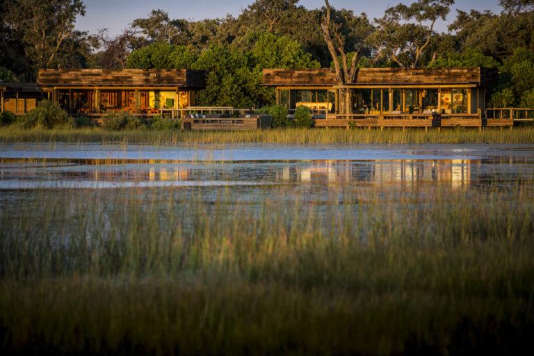 Vumbura Wilderness Safari Camp exterior view from water