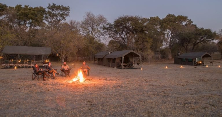 Evening around the central campfire arranged by Letaka Safaris