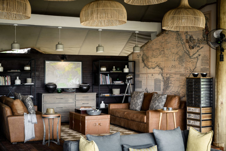 The lounge area at Stanley's Camp is reminiscent of Safari days gone by