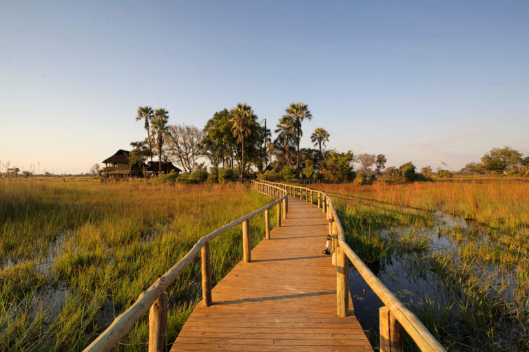 Wooden walkway into the Delta at Gunns Camp