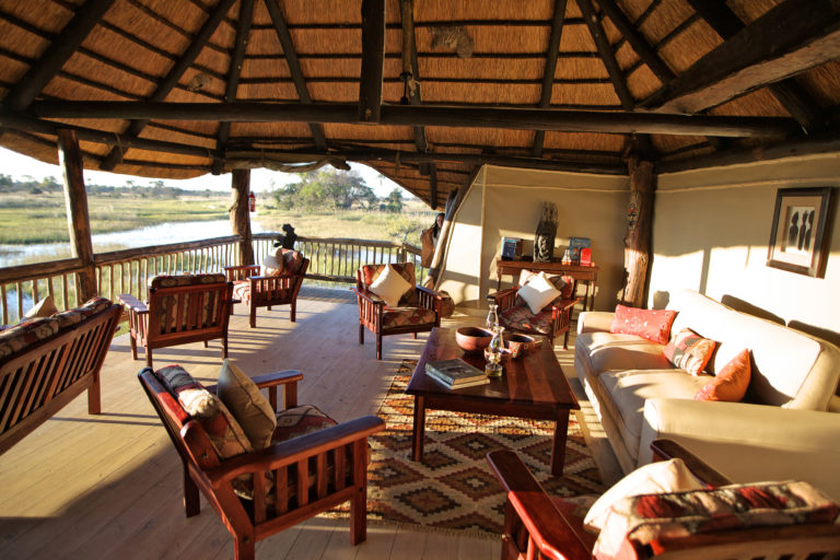 Elevated lounge area overlooking delta wetlands at Gunn's Camp