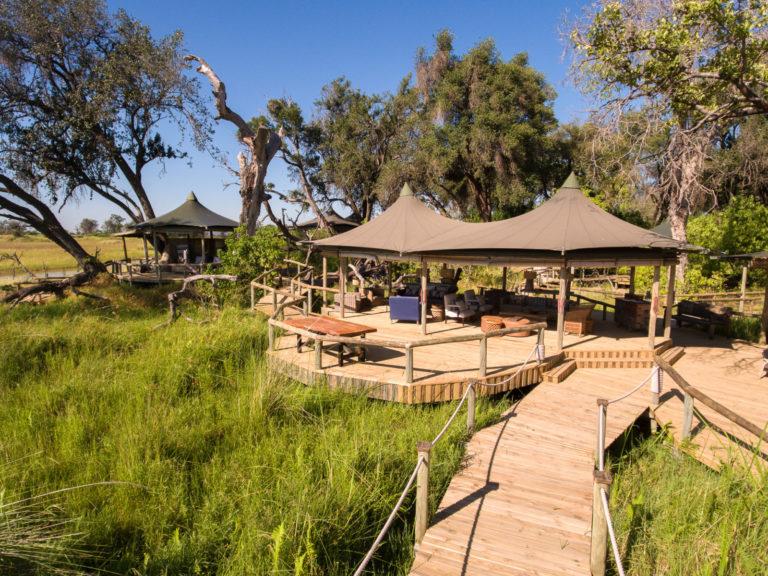 Wooden decks link the main areas at Little Vumbura