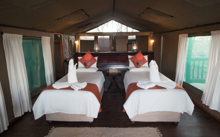 Twin bedded tents at Moremi Crossing are tastefully decorated