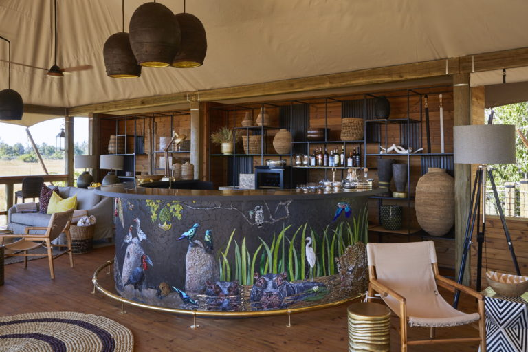 The eye catching handcrafted bar area at Tuludi Camp