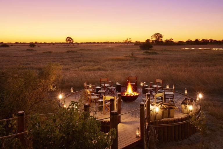The firepit at Tuludi Camp at dusk