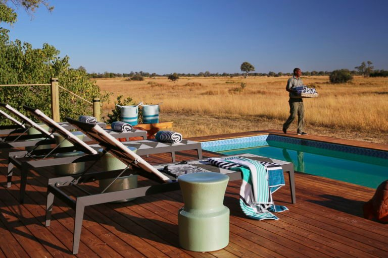 Tuludi camp's swimming pool enjoys extenive views over the grasslands of the Khwai Reserve