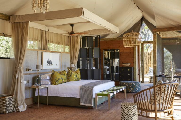 The sophisticated interior decor of the spacious bedrooms at Tuludi