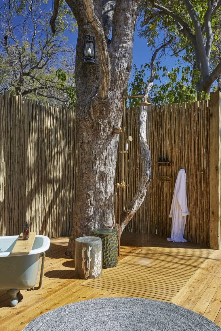 The generous outdoor shower area at Tuludi Camp